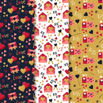 Hand getrokken valentijnsdag patroon set