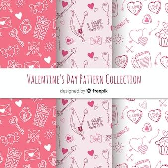 Hand getrokken valentijnsdag patroon