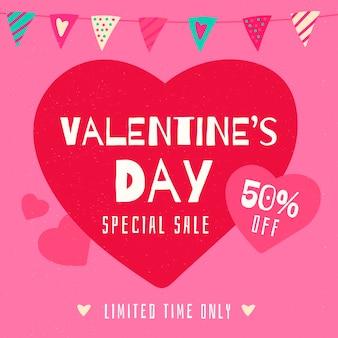 Hand getrokken valentijnsdag verkoop achtergrond