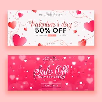 Hand getrokken valentijnsdag verkoop banners sjabloon