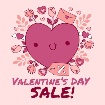 Hand getrokken valentijnsdag verkoop en hart met letter