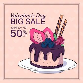 Hand getrokken valentijnsdag verkoop met heerlijke cake