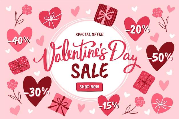 Hand getrokken valentijnsdag verkoop met speciale kortingen
