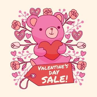 Hand getrokken valentijnsdag verkoop met teddybeer