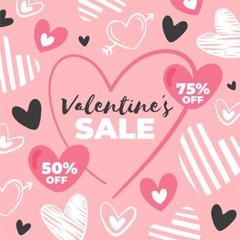 Hand getrokken valentijnsdag verkoop