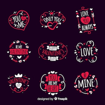 Hand getrokken valentine badge pack