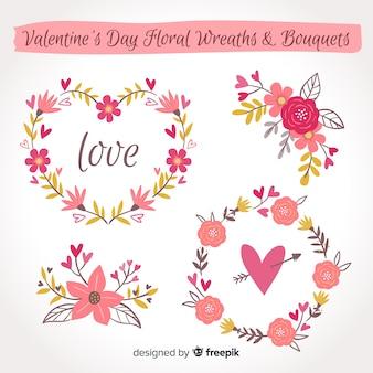 Hand getrokken valentine bloem pack