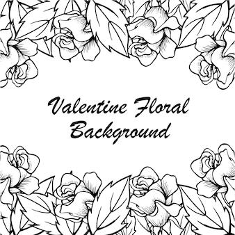 Hand getrokken valentine bloemen achtergrond