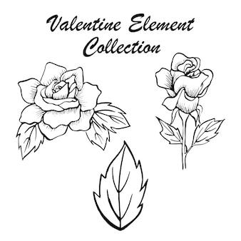 Hand getrokken valentine bloemen collectie
