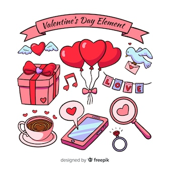 Hand getrokken valentine elementen collectie