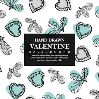Hand getrokken valentine harten en bladeren achtergrond