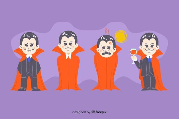 Hand getrokken vampier-tekencollectie met cape
