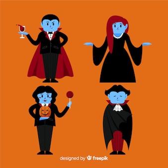 Hand getrokken vampier-tekencollectie