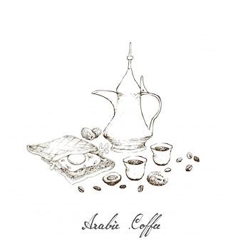 Hand getrokken van arabische koffie met sandwich