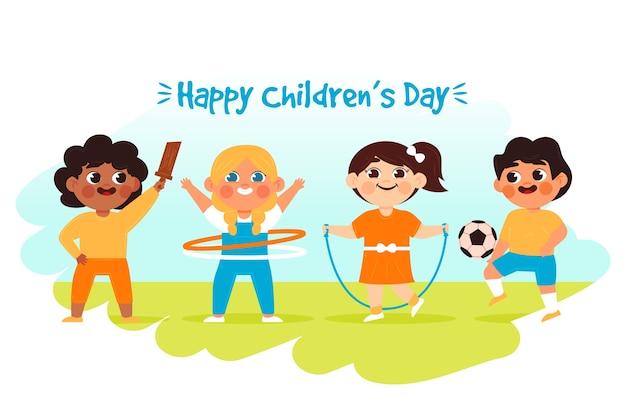 Hand getrokken van de dag van gelukkige kinderen