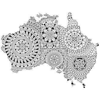 Hand getrokken van de kaart van australië in mandalastijl