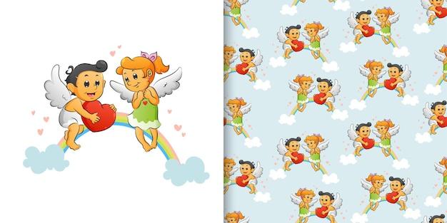 Hand getrokken van de paarfee die met de vleugels vliegt en op de regenboog van illustratie speelt