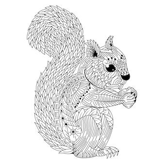 Hand getrokken van eekhoorn in zentanglestijl