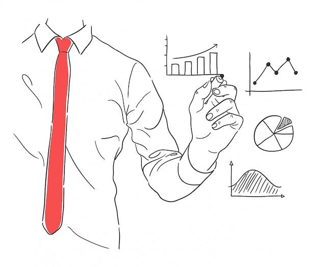 Hand getrokken van een zakenman die illustratie presenteert