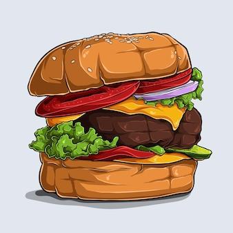 Hand getrokken van grote smakelijke en heerlijke hamburger met kaas, rundvlees, tomaat, ui en sla