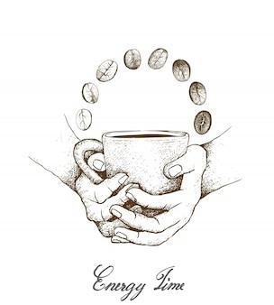 Hand getrokken van hand met een beker warme koffie