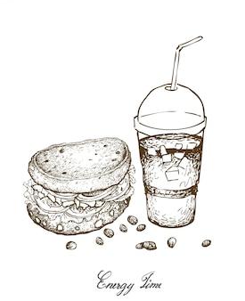 Hand getrokken van hele graan brood broodje met ijskoffie