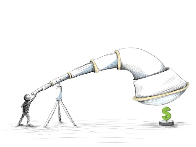 Hand getrokken van het zoeken naar geld met een enorme telescoop.