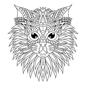 Hand getrokken van kattenhoofd in zentanglestijl