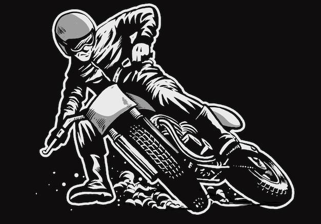 Hand getrokken van man rijden op een vlakke baan motorrace