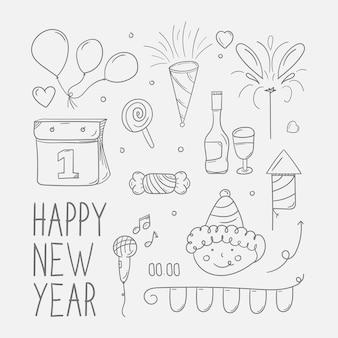 Hand getrokken van nieuwjaarsfeest doodle
