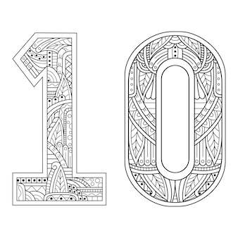 Hand getrokken van nummer tien in zentanglestijl
