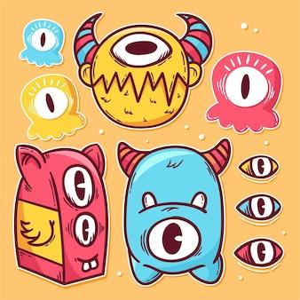 Hand getrokken van sticker kleurrijke monsters pictogram