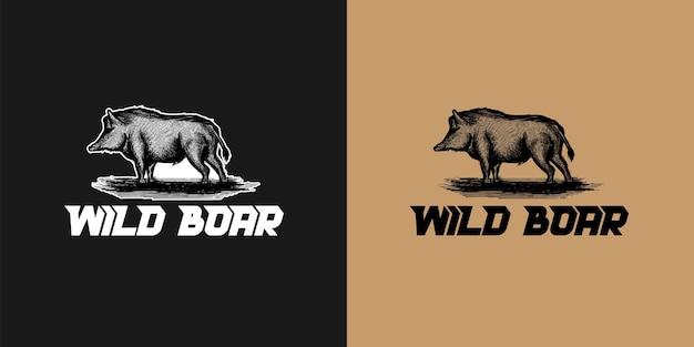 Hand getrokken varkensvlees, wild zwijn logo