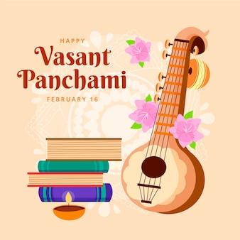 Hand getrokken vasant panchami geïllustreerd
