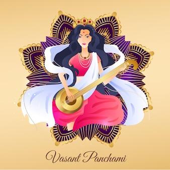 Hand getrokken vasant panchami Gratis Vector