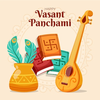 Hand getrokken vasant panchami