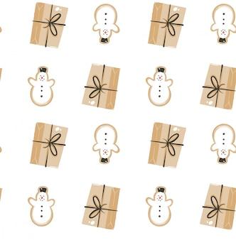 Hand getrokken vector abstracte leuke merry christmas cartoon naadloze tijdpatroon met schattige illustraties geïsoleerd op wit