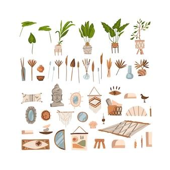 Hand getrokken vector abstracte voorraad grafische boheemse clipart collectie set illustraties