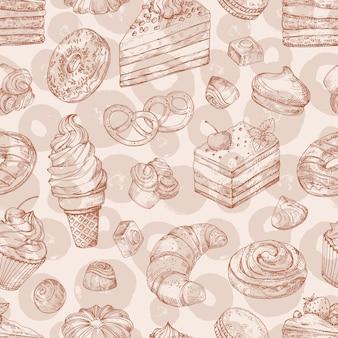 Hand getrokken vector gebak, bakkerij, desserts naadloos patroon