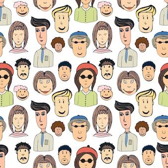 Hand getrokken vector naadloze patroon met menigte van grappige arbeidersvolken. doodle gezichten achtergrond