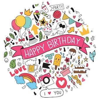 Hand getrokken vectorillustratie happy birthday ornaments uit de vrije hand getrokken doodle elementen partij