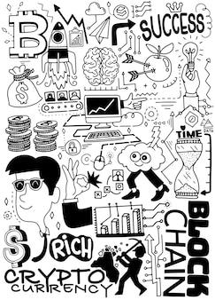 Hand getrokken vectorillustratie van doodle cryptocurrency
