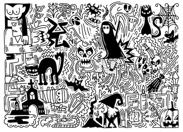 Hand getrokken vectorillustratie van doodle halloween-achtergrond