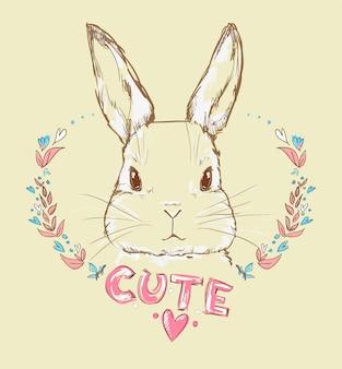 Hand getrokken vectorillustratie van konijntje, konijn met bloemen