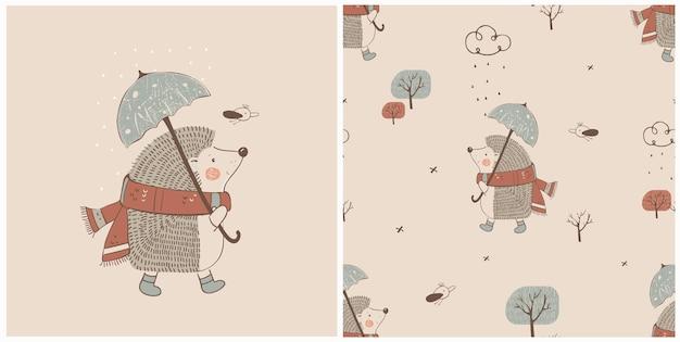 Hand getrokken vectorillustratie van schattige egel met paraplu en naadloos patroon