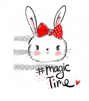 Hand getrokken vectorkonijn, leuk konijntje, konijn met boog leuke illustratie