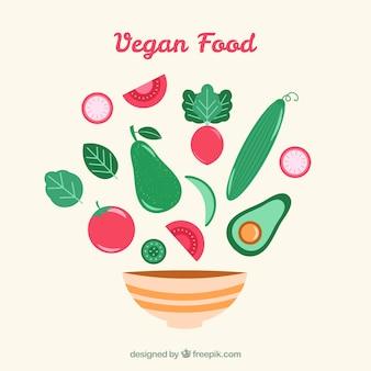 Hand getrokken veganistisch eten en drinken kom