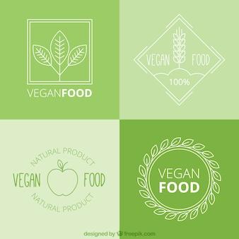 Hand getrokken veganistisch eten logo pack