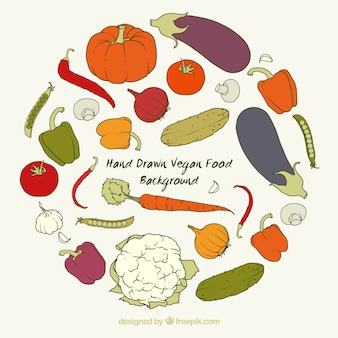 Hand getrokken veganistische ingrediënten achtergrond
