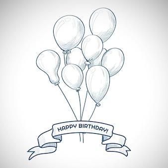 Hand getrokken verjaardag met ballonnen schets achtergrond